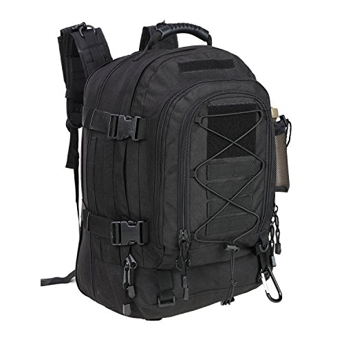 PANS Military Expandable Travel Backpack Tactical Waterproof Outdoor 3-Day Bag,Large,Molle System for Travel,Hiking,Camping,Trekking,Outdoor Sports,Work(Black) ()