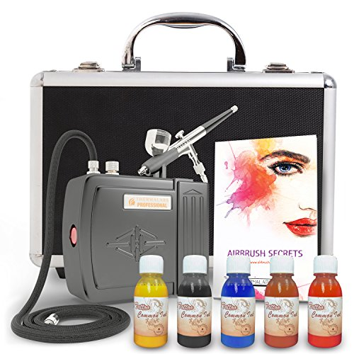 [The Best All-In-One FULL Mini Airbrush Kit: Compressor, Professional Gun, 5 Art Paints, Rechargeable Battery, Tattoo Stencils, Superior Travel Case For Airbrushing, Nails Art, Cake Decoration And] (Special Effects Makeup Supplies)
