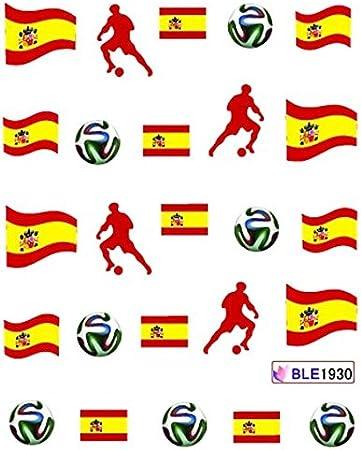 Sticker mundial water decal manicura para uñas, diseño de bandera de España: Amazon.es: Belleza
