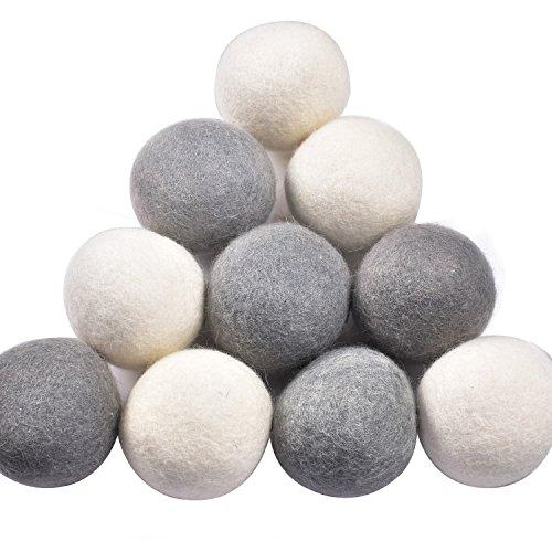 Yazer Pack of 6 Wool Dryer Balls XL Handmade Organic Zealand Natural Fabric Softener (10, White+Grey)
