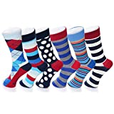 Alpine Swiss Mens Cotton 6 Pack Dress Socks Striped & Argyle Bright Color Pack