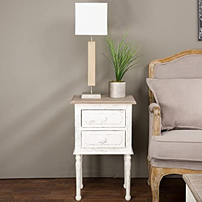 Baxton Studio Anjou Traditional French Accent Nightstand, Medium, White - Traditional French Accent Nightstand Two Drawers Provide Functional Storage Spaces Constructed with Mdf Frame in Distressed White Finishing - nightstands, bedroom-furniture, bedroom - 51FLsP9yrOL. SS400  -
