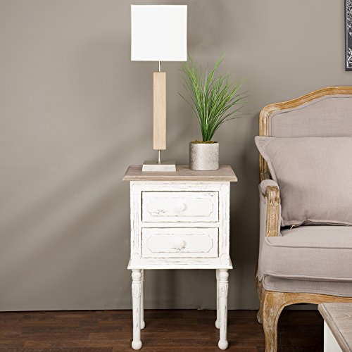 Baxton Studio Anjou Traditional French Accent Nightstand, Medium, White (Nightstand Wooden White)