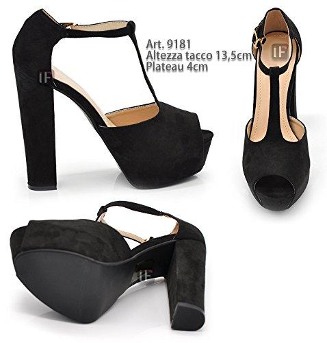 9181 da Donna Tacco da Alto Scamosciati Fashion Cerimonia Sandali If T Plateau Scarpe Matrimonio Cinturino wtq6EpBP