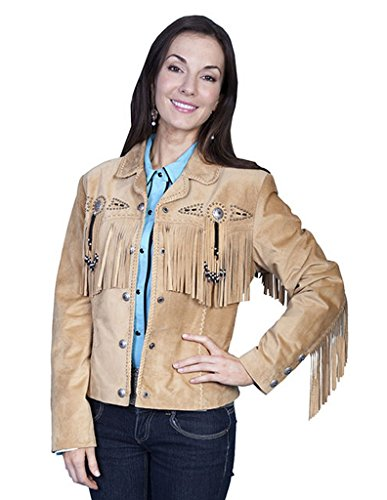 - Scully Leather Womens Beaded Fringe Conchos Boar Suede Jacket Old Rust 3X