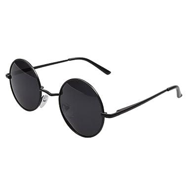 bea6fb2168e6c FSK Unisex Vintage Round Circle Sunglasses Metal Frame Polarized Lens (Black  frame Gray lens)  Amazon.co.uk  Clothing