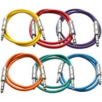 Seismic Audio SATRX-2BGORYP 6 Pack of Multi Color 2 1/4 TRS to 1/4 TRS Patch Cables