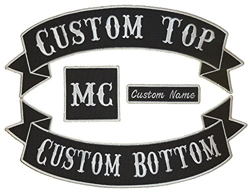 Custom Embroiderd Full Vest Biker 4pc Patch Set - 13