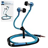 Blue Premium 3.5mm Aluminium ZIPPER In Ear Stereo Wired Headset Hands Free Headphones with Built in Mic Microphone and On Off Button For LG P350 Optimus Me