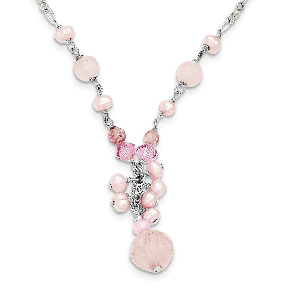 Perfect Jewelry Gift Sterling Silver Rose/Cherry Quartz/Pink Crystal/Pink FW Cultured Pearl Neck