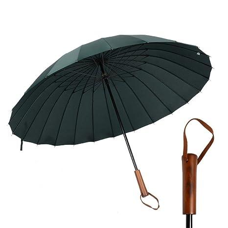 Guoke 24 Huesos De Hombres Paraguas Mango Largo De Madera Maciza Personalizado Estudiantes Antiguos Dobles Reforzadas