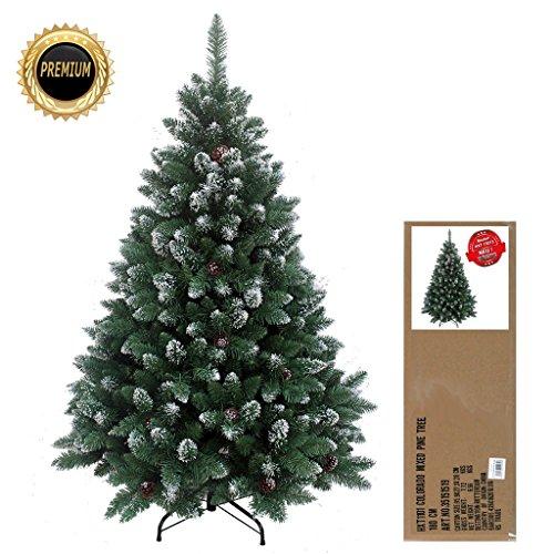 HXT 15013 180 cm ca. 1095 Spitzen, Exklusiver dekorierter künstlicher Weihnachtsbaum mit Metallständer, beschneiten Spitzen und Tannenzapfen Deko, Farbe Natur-Schnee