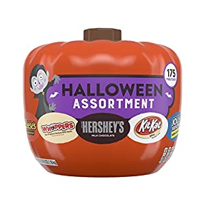 HERSHEY'S Snack Size Halloween Chocolate Candy Assortment in Pumpkin Bowl, 175 Pieces, 41.2 Ounces