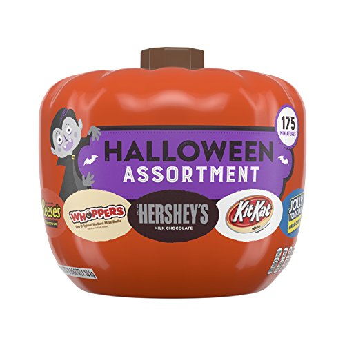 HERSHEY'S Snack Size Halloween Chocolate Candy Assortment in Pumpkin Bowl, 175 Pieces, 41.2 Ounces ()