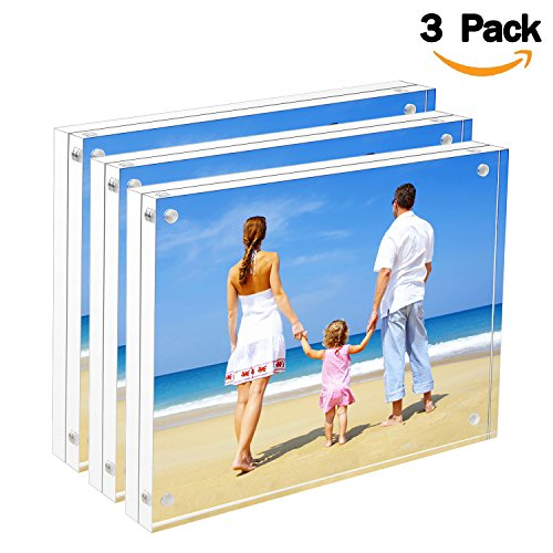 Bulk Acrylic Picture Frames 8x10, Clear Double Sided Block Set Retail Gift Box Package, Desktop Frameless Acrylic Photo Frame (3 Pack)