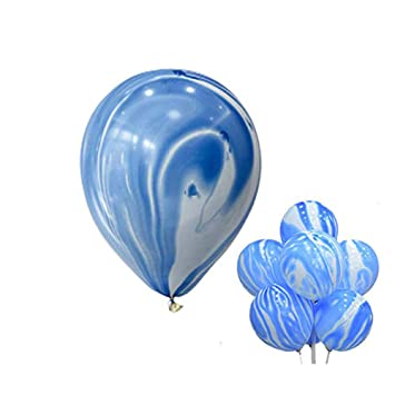 Amazon Com Blue Agate Marble Balloons 12 40pcs Agate Color Marble
