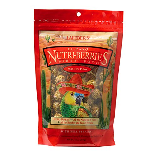 (LAFEBER'S El Paso Nutri-Berries Pet Bird Food, Made with Non-GMO and Human-Grade Ingredients, for Parrots, 10 oz)