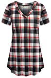 Boyfriend Shirt for Women,Nandashe Female Casual Notch Neck Short Sleeve High Low Swing Business Western Scrub Professional Form Company Plaid Tunic Blouse for Work Pullover Sweater Black Red xx-large