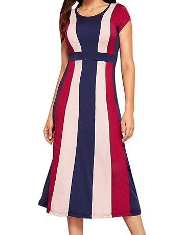 0d72be1895 Women Dress Fashion Short Sleeve Stripe V-Neck Short Dress Ladies Party  Elegant Dress New