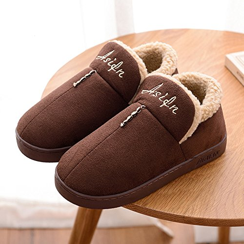 CUSTOME Men women unisex Cotton Knitted Anti-slip House Slippers Comfortable Cotton Warm House Soft Sole Indoor Slippers Blue DpC98YEib