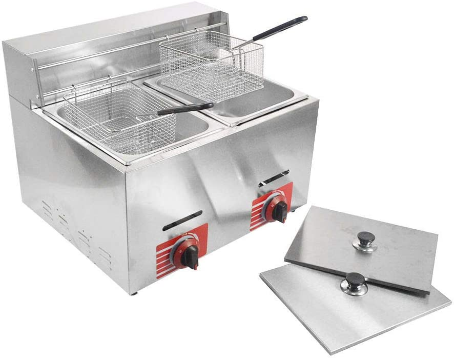 Commercial Stainless Steel Countertop Propane-LPG Gas Fryer Deep Fryer with 10L2 Basket