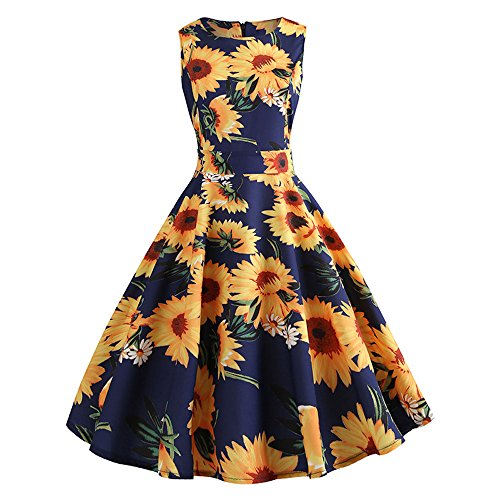 - Women A-Line Vintage Floral Sunflower Print Sundress Bodycon Sleeveless Retro Casual Evening Party Prom Swing Summer Dress (XL, YE)