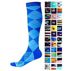 Compression Socks (1 pair) for Women & Men - Easywear Series - Best Graduated Athletic Fit for Running, Nurses, Flight Travel, & Maternity Pregnancy - Boost Stamina & Recovery (Blue Argyle, L/XL)