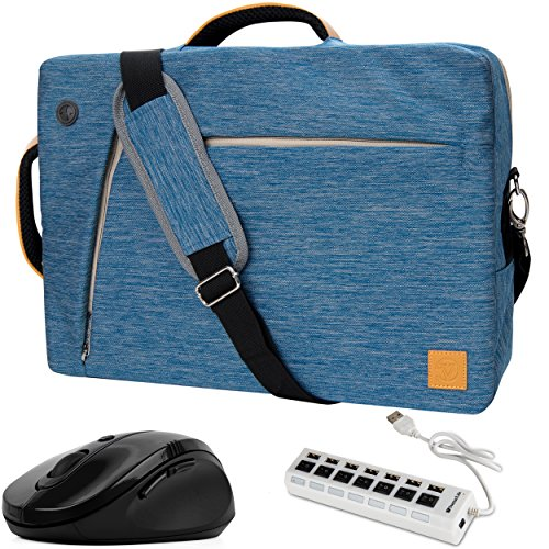 VanGoddy 3-in-1 Hybrid 17.3inch Blue Laptop Bag w/ 7-Port USB Hub and Mouse Suitable for Fujitsu Celsius H970