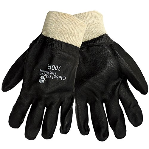 Global Glove 700R-10 Premium Supported PVC, Double Dipped, Jersey Liner, Rough Finish, Knitwrist