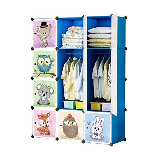 KOUSI Kids Dresser Kids Closet Portable Closet Wardrobe Children Bedroom Armoire Clothes Hanging Storage Rack Cube Organizer,Cute Cartoon,Safety & Large & Sturdy, Blue 8 Cubes & 2 Hanging Sections
