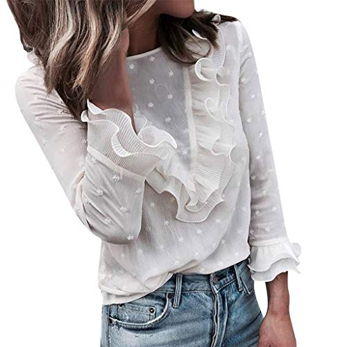 Sunhusing Ladies' Lace Polka Dot Print Round Neck Button Layered Ruffled Long Sleeve T-Shirt Top White ()