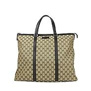 Gucci Original GG Beige/Brown Canvas Leather Trim Zip Top Tote Bag 449170 9903