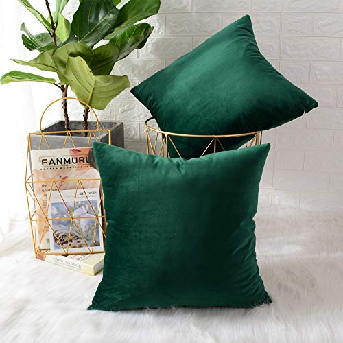 (MERNETTE Pack of 2, Velvet Soft Decorative Square Throw Pillow Cover Cushion Covers Pillow case, Home Decor Decorations for Sofa Couch Bed Chair 18x18 Inch/45x45 cm (Dark Green))