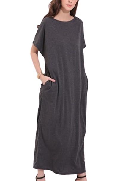 Women s Plus Size Color Sólido Casual Maxi Vestido Plisado Vestidos Sueltos Con Bolsillo Darkgray