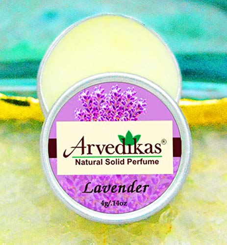 (Arvedikas Lavender Natural Solid Perfume Beeswax/Floral Fragrance/Lavender Perfume/Pocket Size Compact Cologne/Scented Balm/Skin Friendly/Body Parfum/Gift for Her / 4gm (23 Varieties))