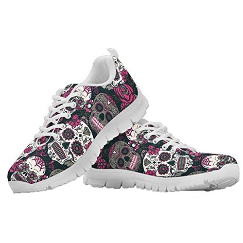 3 Sneakers for Shoes Tennis Flexible Sugar Walking Lightweight Women Casual Skulls Coloranimal Running IwH7qOxg