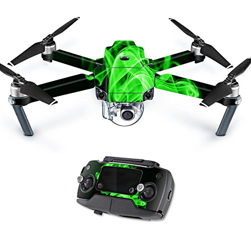 Pro Flames Stickers - MightySkins Skin Compatible with DJI Mavic Pro Quadcopter Drone - Green Flames | Protective, Durable, and Unique Vinyl Decal wrap Cover | Easy to Apply, Remove, and Change Styles | Made in The USA