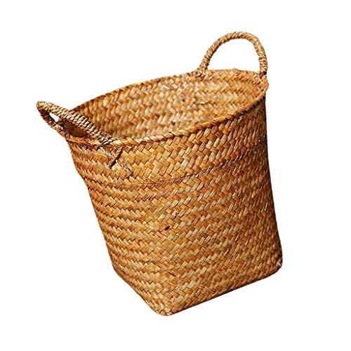 MOPOLIS Shabby Chic Garden Flower Pot Planter Rattan Straw Basket Storage Hamper Bin (Color - Brown)