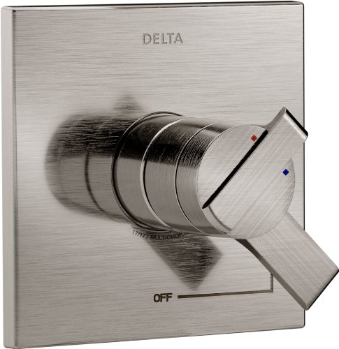 (Delta Faucet Ara 17 Series Dual-Function Shower Handle Valve Trim Kit, Stainless T17067-SS (Valve Not Included))
