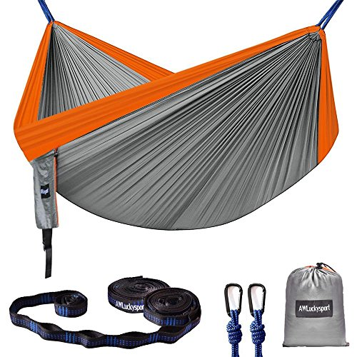 (Hammock, Double Camping Hammock Garden Hammock Ultralight Portable Nylon Parachute Multifunctional Lightweight Hammocks with 2 x Hanging Straps for Backpacking, Travel, Beach, Yard)