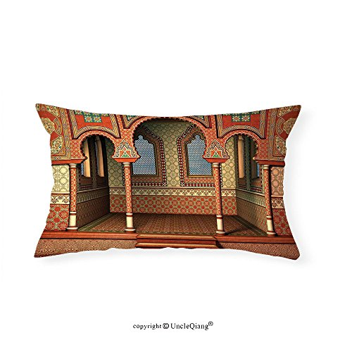 VROSELV Custom pillowcasesArabesque Decor Middle East Oriental Inner Palace Islamic Architecture Vintage Art Design for Bedroom Living Room Dorm Golden Red(16''x24'') by VROSELV