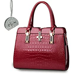 Micom New Fashion Designer Handbags Women Pu Leather Alligator Pattern Tote Bag with Micom Zipper Pouch (Medium-sized, Wine Red)