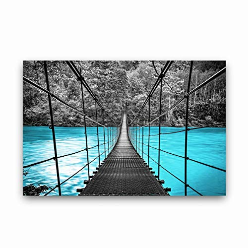 Bridge Over Water - Studio 500 Museum Quality Canvas Art - Wall Art Teal w/a Black Suspension Bridge Over Water, Canvas XX-Large, 48x32x1.5, Ready to Hang, GC: B1839
