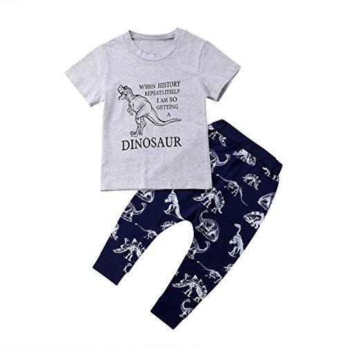 Dinosaur Boys Short Sleeve Tops T-Shirt Pants Leggings Cotton Set Toddler Kids Clothes 1-6 T (3-4 Years)