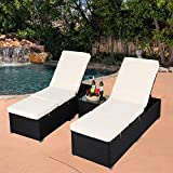 Cheap Do4U 3 Pcs Outdoor Chaise Lounge – Easy to Assemble – Thick & Comfy Cushion Wicker Lounge Chairs Include 1 Table 2 Chaise Lounge- Black Rattan Beige Cushion (Black-8003)
