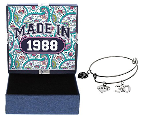 30th Birthday Gifts for Her Made 1988 Charm Bracelet Jewelry Box