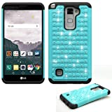 Phone Case for Straight Talk LG Stylo 2 4g LTE GSM / CDMA (Boost Mobile) Crystal-Dual-Layered Rugged Cover (Crystal-Teal with Black)