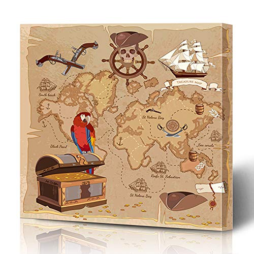 (Ahawoso Canvas Prints Wall Art 12x12 Inches Roger Adventure Old Pirate Treasure Map Chest Parchment Parks Vintage Anchor Ancient Scroll Antique Wooden Frame Printing Home Living Room Office Bedroom)