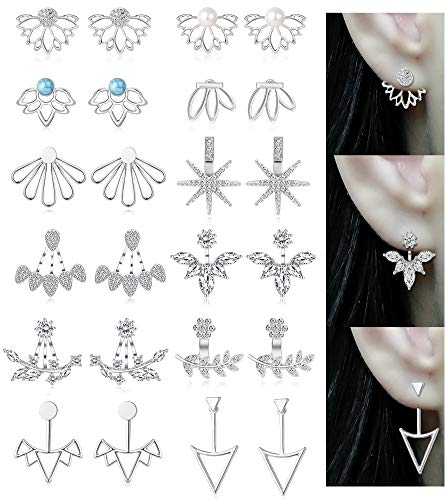 Tornito 12 Pairs Lotus Flower Earring Studs Chic CZ Earrings Jackets For Women Girls Silver Tone -