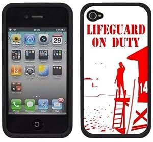 lifeguard on duty hecho a mano iPhone 44S Negro carcasa rígida de plástico funda